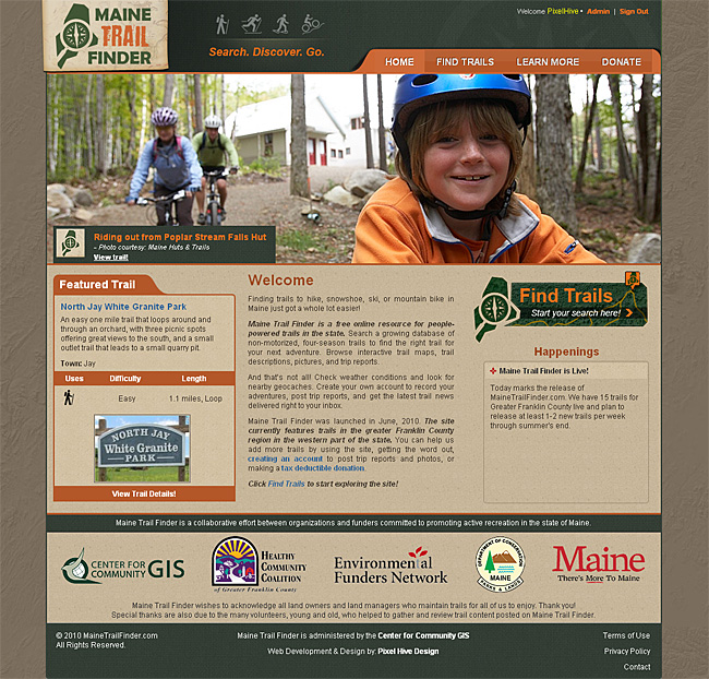 Maine Trail Finder Home Page Design