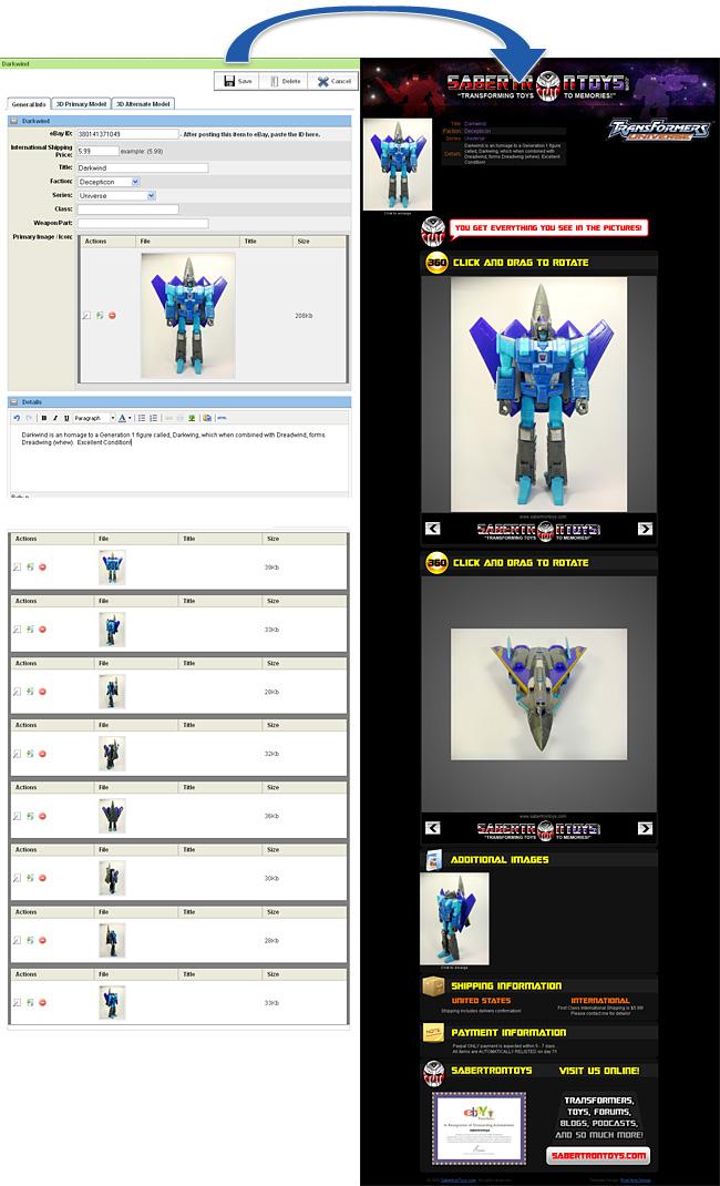 PHD Portfolio : Sabertron Toys Site And Ebay Templates